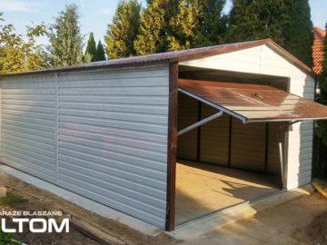Garaż 4x6m   dwuspadowy   kolor RAL/drewnopodobny
