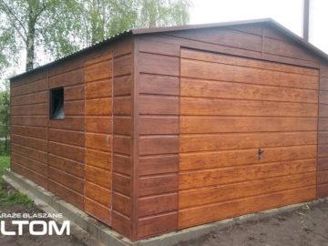 Garaż 4x5m | dwuspadowy | drewnopodobny – szeroki poziomy trapez
