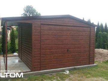 Garaż 4x5m z boczną wiatą 1x5m | dwuspadowy | drewnopodobny