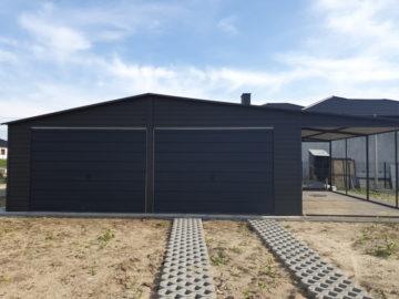 Garaż 7x6m z boczną wiatą 3x6m | dwuspadowy | kolor RAL