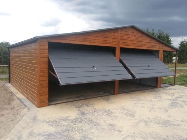 Garaż blaszany drewnopodobny z wiatą Ultom