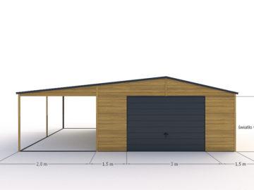 Garaż 7,8×6 z boczną wiatą   dwuspadowy   drewnopodobny